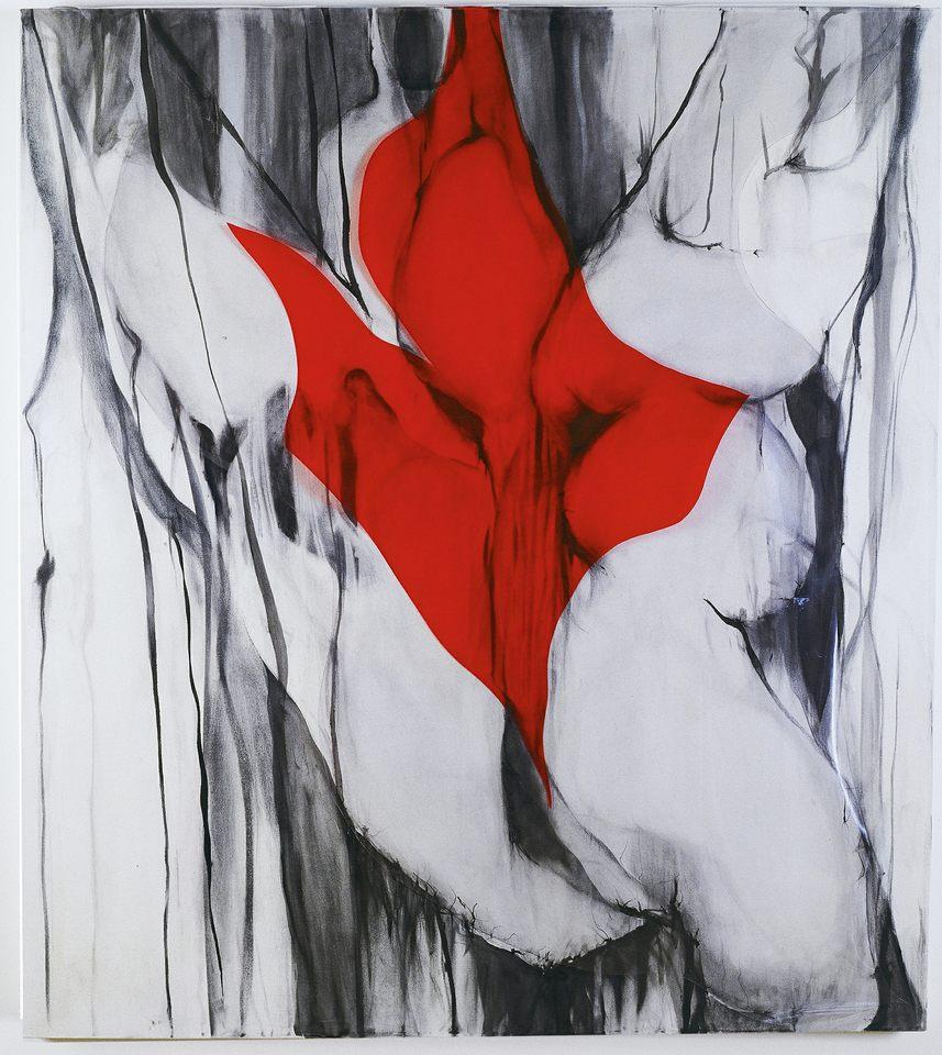 Corazón rojo, téc.mixta s-tela y PVC,130x 145 cm