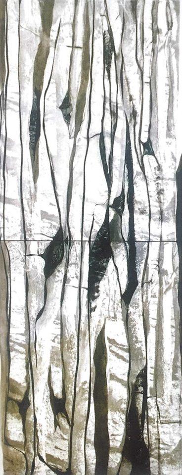 Huellas, 2003 - técnica mixta sobre lona 110 x 290 cm