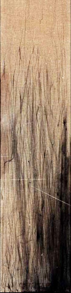 Huellas III, 2005 - tinta sobre lino 130 x 30 cm