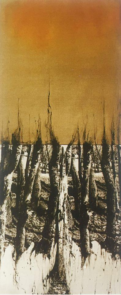 Memoria leve III, 2003 - técnica mixta sobre tela 127 x 304 cm