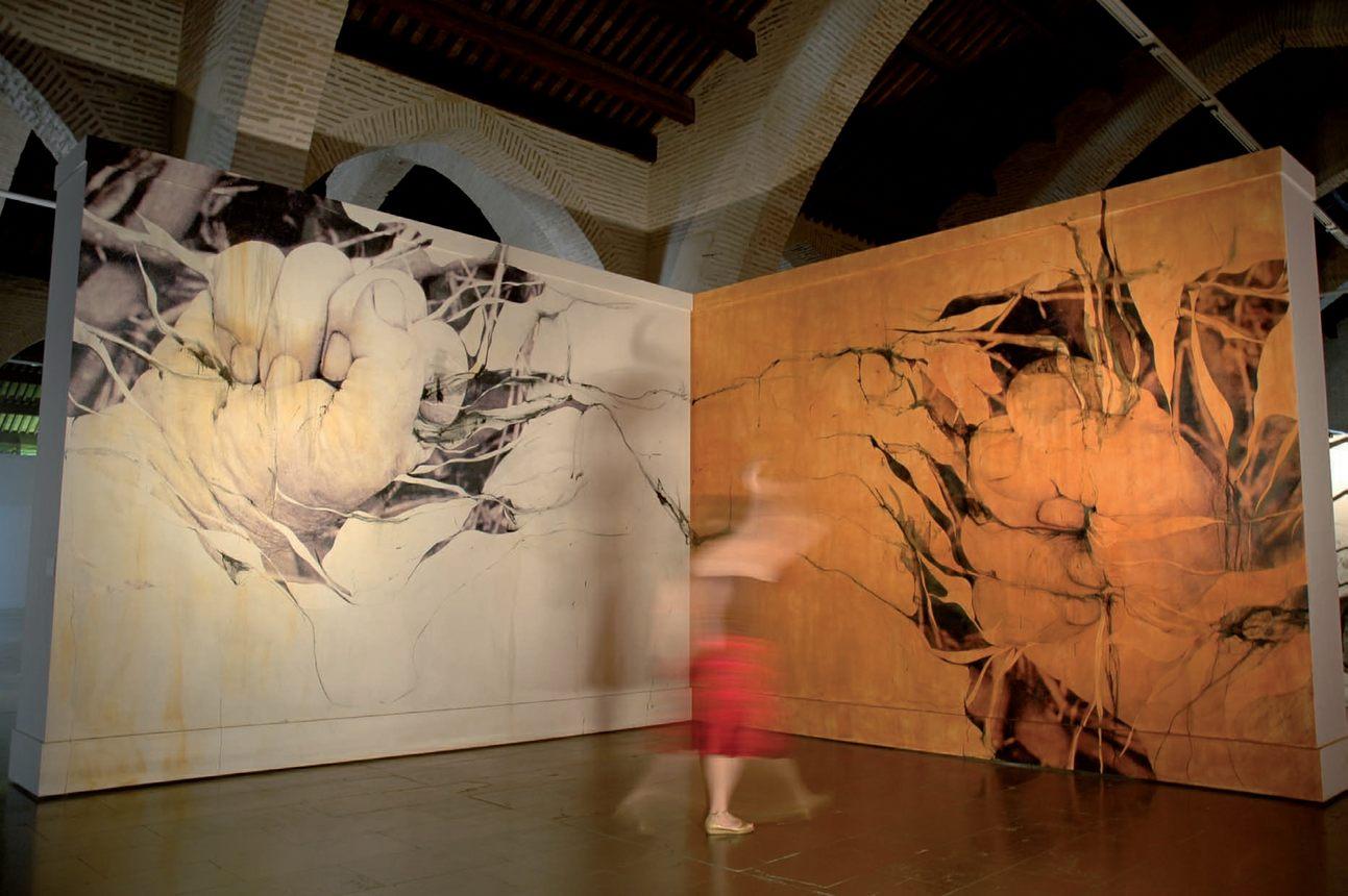 """Instalación: """"Origen tierra"""". Técnica mixta mural seco sobre DM preparado"""