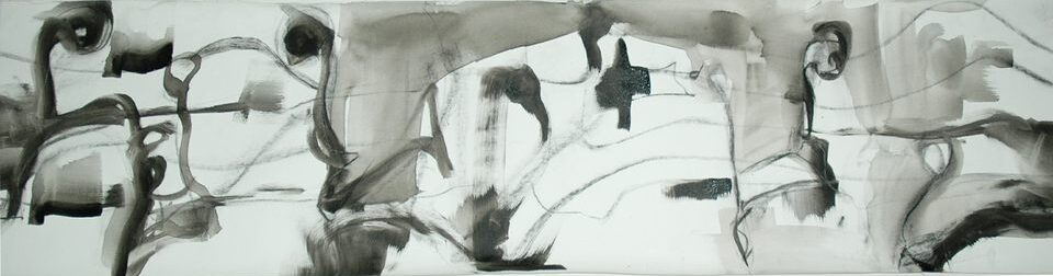 dibujo para orquesta 3, tinta sobre tela 150x65cm-2008