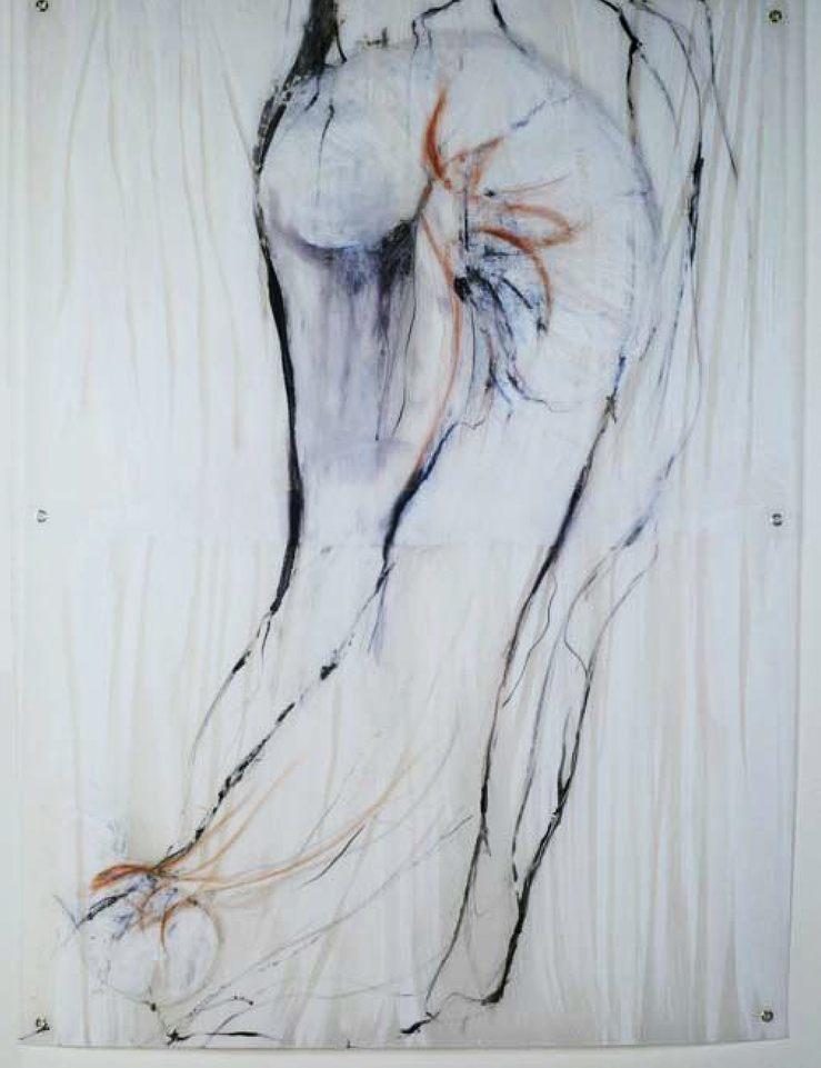 quebradizo, técnica mixta s-pvc,105x 145 cm.