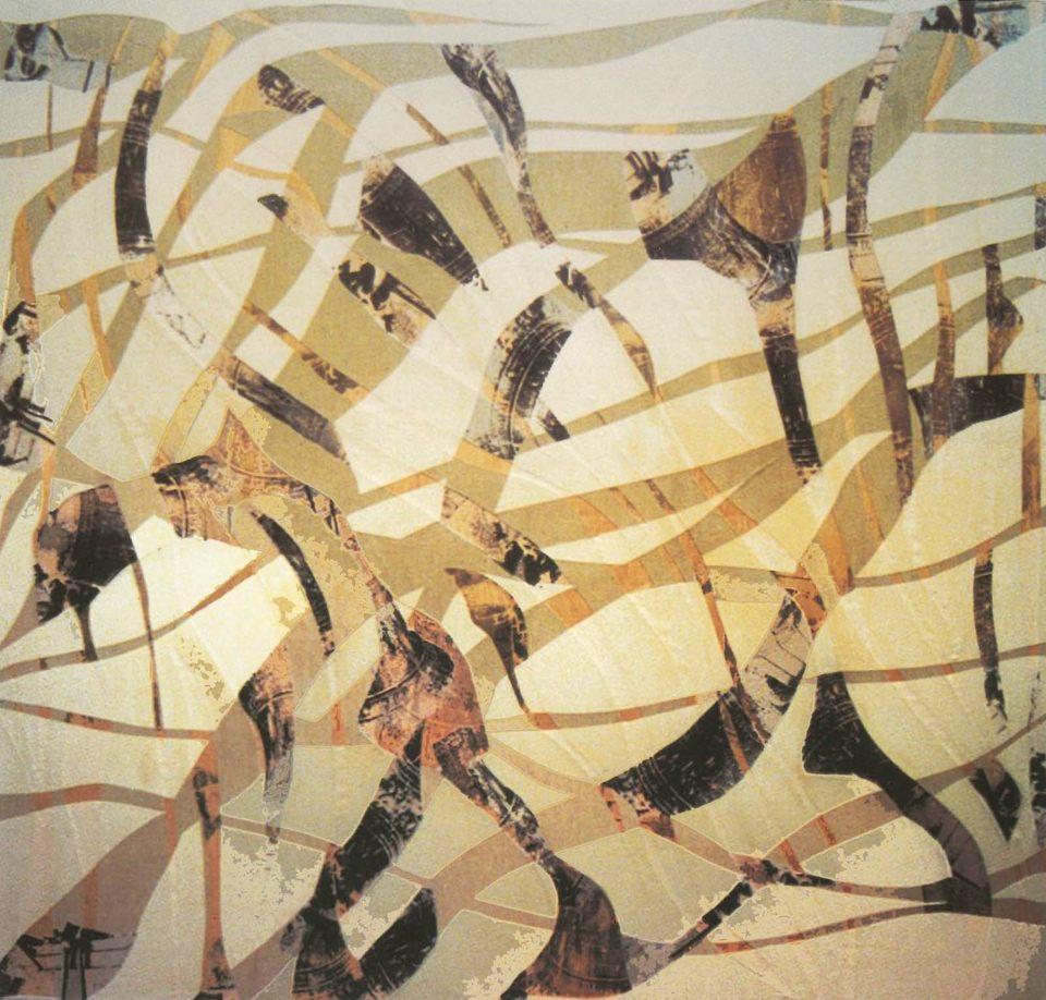 Campanadas, 2001 collage s tabla 165 x 170 x 10