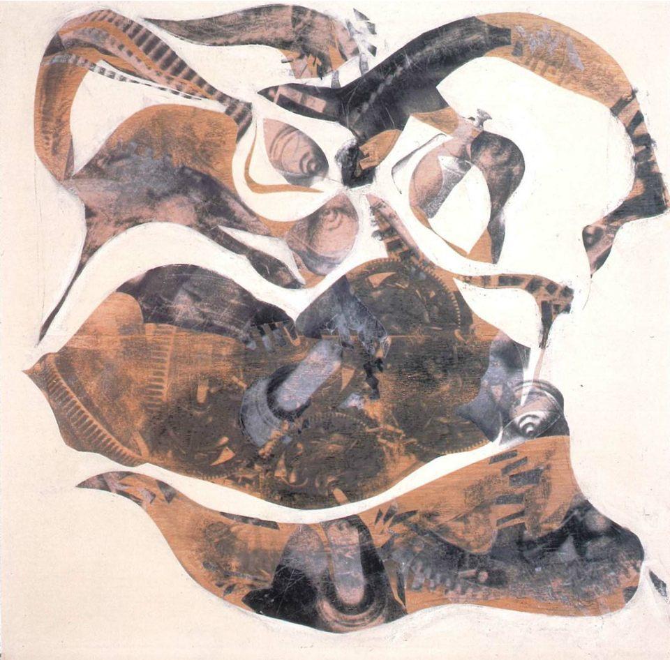 Corazón, 2000 collage s-tabla 130 x 130 x 8 cm