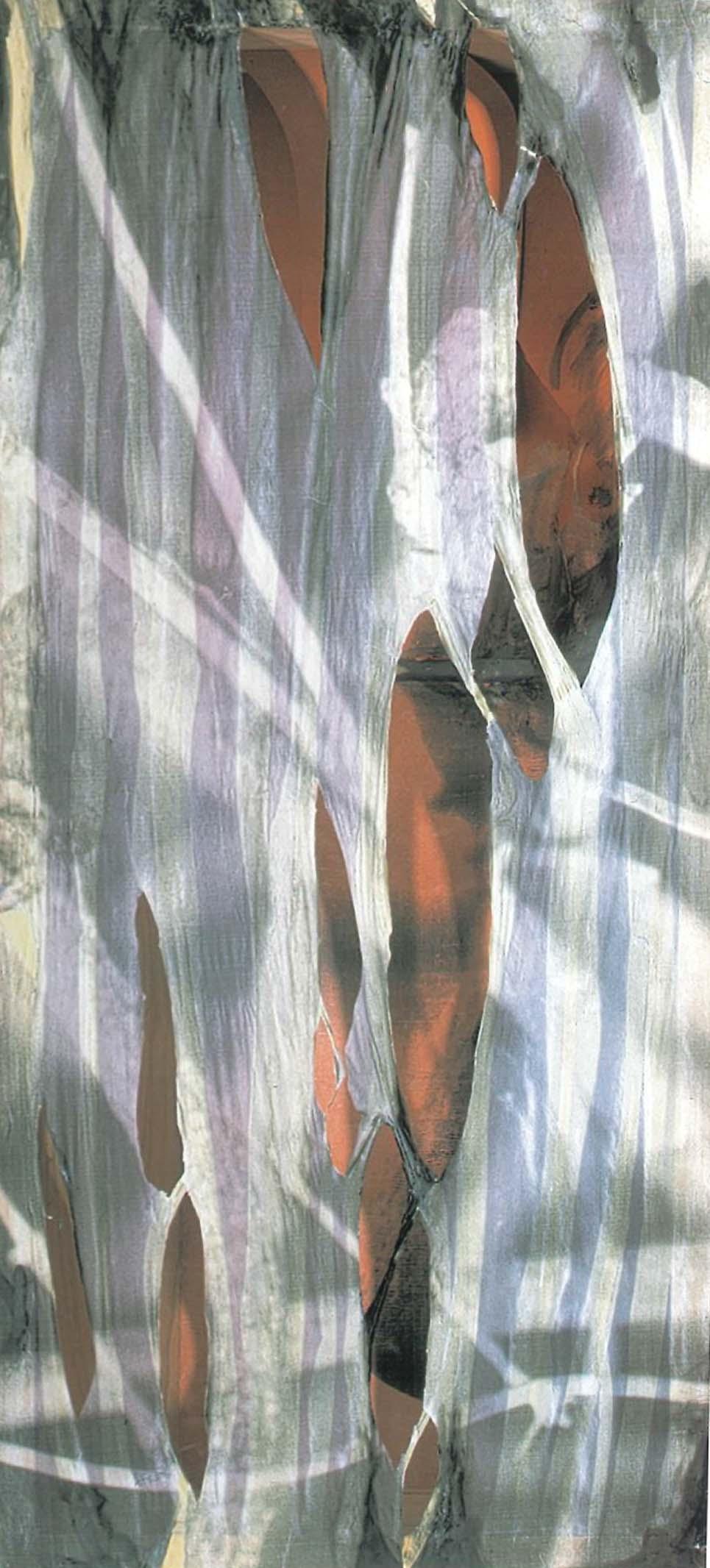 Interior en el exterior, 2001 t copia.mixta s/tela 110 x 50 x 10 cm