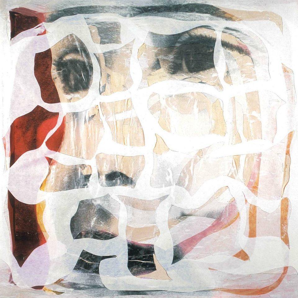 Joan, sencilla protección,2001 collage s-tela 100 x 100 x 10 cm